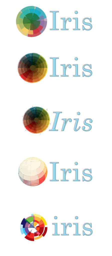 A series of vectorized color wheels with Iris text