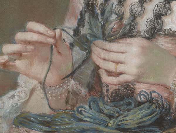 Detail of Susannah Hoare, Viscountess Dungarvan, later Countess of Ailesbury / William Hoare