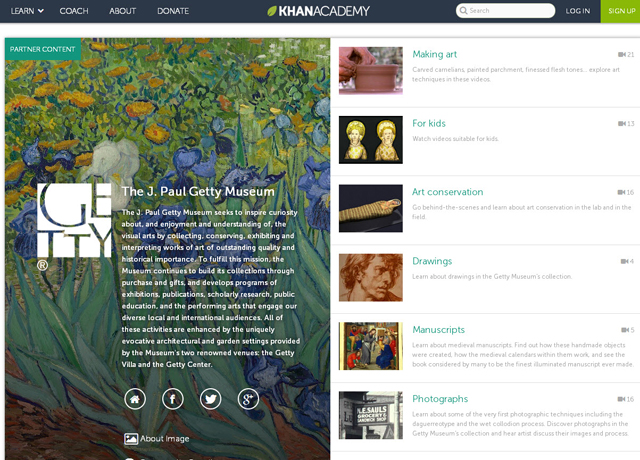 Getty Museum and Khan Academy Partner in Online Learning