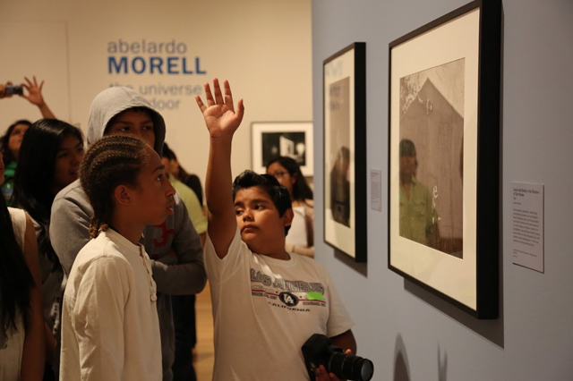 Mark Twain Middle School 8th graders viewing the Abelardo Morell exhibition at the Getty Center