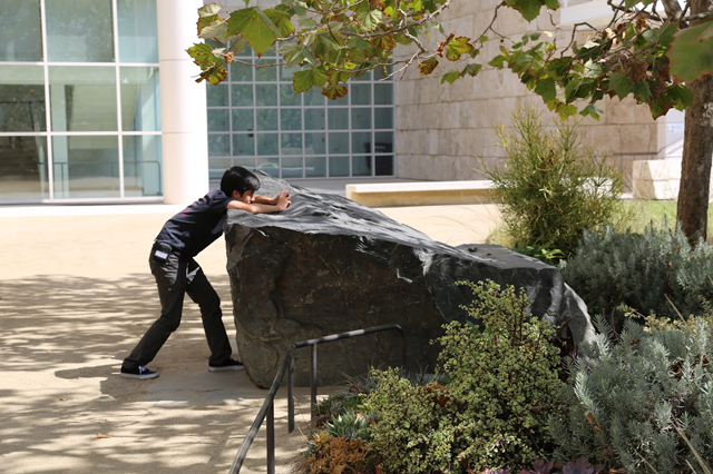 Mark Twain Middle School student taking a picture at the Getty Center