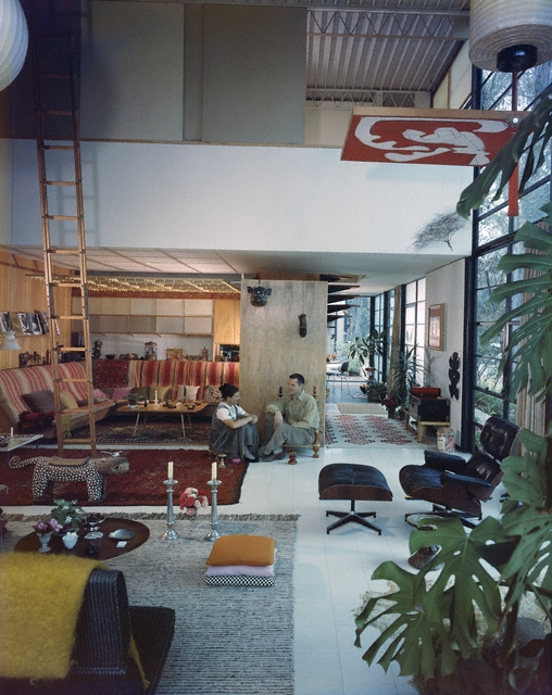 Case Study House #8: Charles and Ray Eames in their living room, Pacific Palisades, 1968