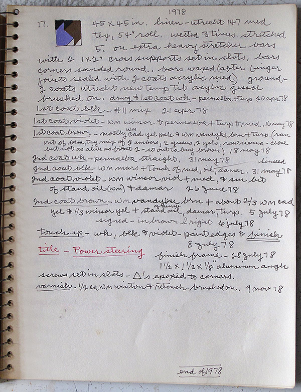 Notes for Frederick Hammersley's painting Power steering, 17