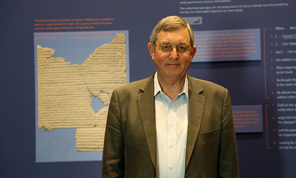 Dr. John Curtis of the British Museum in the galleries of The Cyrus Cylinder at the Getty Villa