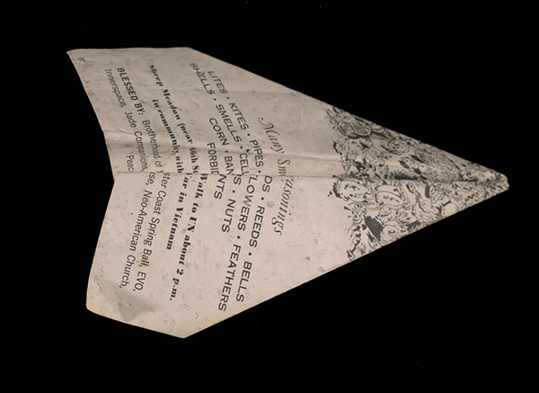 Paper airplane made from Many Smokes and Spring Seasonings by artist Martin Carey, 1967