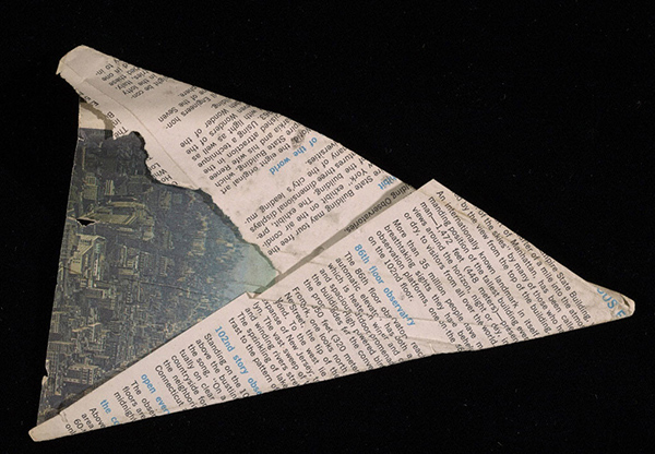 Paper airplane made from an Empire State Building informational sheet, 1968