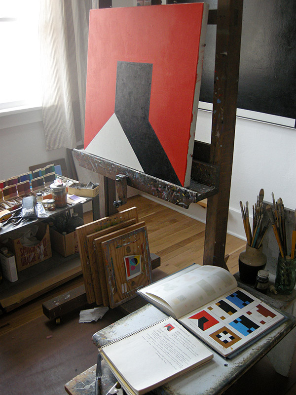 Notebooks and unfinished painting in Frederick Hammersley's studio, March 2012