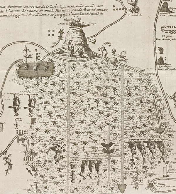Detail of Aztec migration map showing Chapultepec and Tenochtitlan
