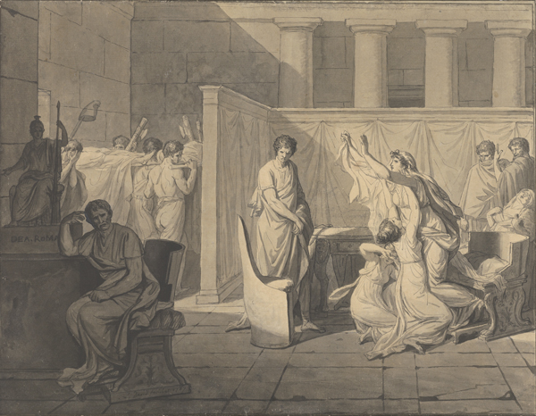 The Lictors Bringing Brutus the Bodies of His Sons (1787), Jacques-Louis David (French, 1748 - 1825), Pen and black ink and gray wash, The J. Paul Getty Museum, Los Angeles