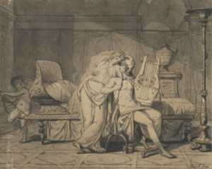 Paris and Helen, 1786, Jacques-Louis David (French, 1748 - 1825), pen and black ink and brush and gray wash, The J. Paul Getty Museum, Los Angeles