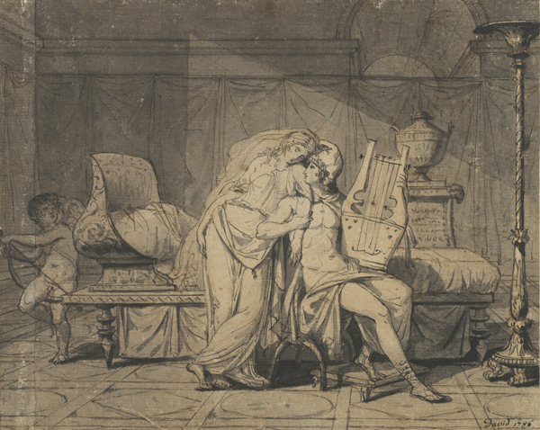 Paris and Helen, 1786, Jacques-Louis David. Pen and black ink and brush and gray wash, 7 3/16 x 9 in. The J. Paul Getty Museum, 83.GA.192
