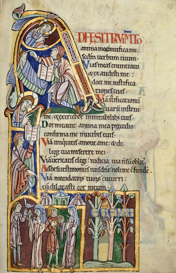 Initial A: Psalm 118:28 and Psalm 118:37 / St. Albans Psalter