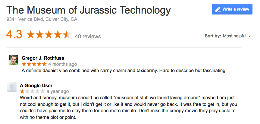 Google reviews for the Museum of Jurassic Technology