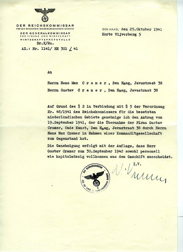 Letter to Cramer ordering the transfer of the gallery from Gustave to his son Hans