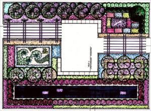 Landscape architect's rendering of the Getty Center display at the Philadelphia Flower Show