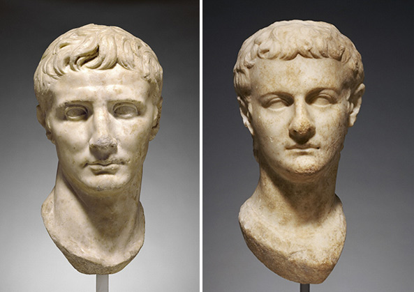 Portrait busts of Roman emperors Augustus and Caligula / Roman
