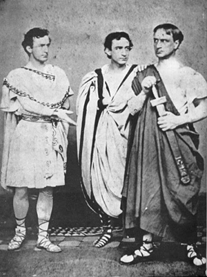 John Wilkes Booth and his two brothers dressed for their 1864 performance in Julius Caesar