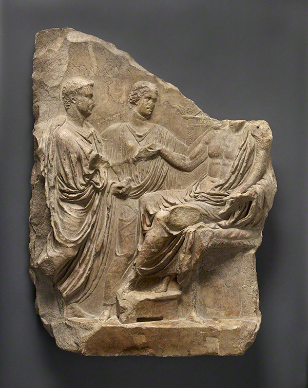 Relief with Tiberius, Concordia, and a Genius / Roman