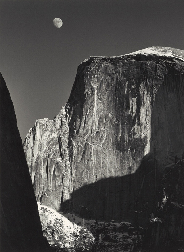 Moon and Half Dome, Yosemite Valley, California / Ansel Adams