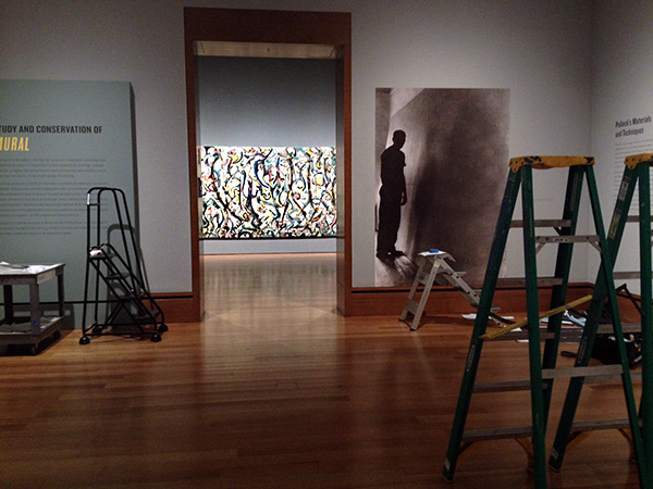 Installation of Jackson Pollock's Mural at the Getty Center