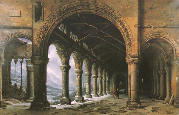 The Effect of Fog and Snow Seen through a Ruined Gothic Colonnade, 1826, Louis-Jacques-Mandé Daguerre