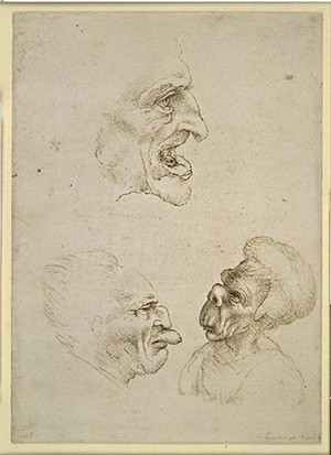 Three Caricature Heads with Grotesque Features / unknown artist after Leonardo da Vinci
