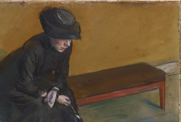 Waiting - detail of figure in black / Degas