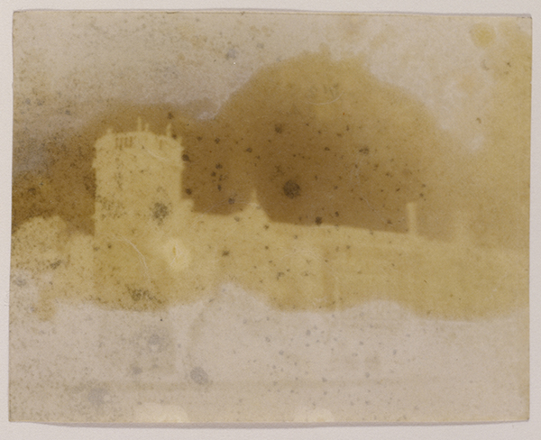 Lacock Abbey, 1835–39, William Henry Fox Talbot. Photogenic drawing negative, 2 15/16 x 3 11/16 in. The J. Paul Getty Museum, 84.XM.1002.32
