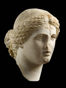 Head of Aphrodite, A.D. 1–100, Roman, made in Athens, Greece. Marble, 15 3/4 in. high. National Archaeological Museum, Athens. Image courtesy of the National Archaeological Museum, Athens