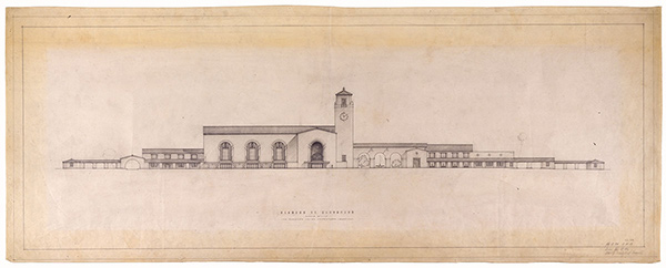 Alameda Street Elevation, Los Angeles Union Passenger Terminal / Parkinson