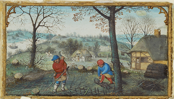 Gathering Twigs, from Book of Hours, about 1550, Simon Bening. Tempera colors and gold paint on parchment, 2 3/16 x 3 ¾ in. (5.6 x 9.6 cm).  The J. Paul Getty Museum, Ms. 50, verso