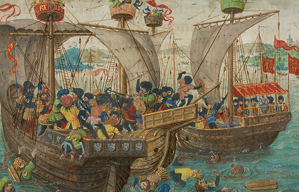 A Naval Battle Between Gillion's Troops and the Soldiers of the Saracen Prince, from the Romance of Gillion de Trazegnies, Lieven van Lathem.  Tempera colors, gold, and ink on parchment, 14 9/16 x 10 1/16in. (37 x 25.5 cm). The J. Paul Getty Museum, Ms. 111, fol. 21