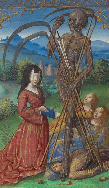 Denise Poncher before a Vision of Death, Master of the Chronique scandaleuse.  Tempera colors, gold, and ink on parchment, 5 ¼ x 3 7/16 in. (13.3 x 8.7 cm). The J. Paul Getty Museum, Ms. 109, fol. 156