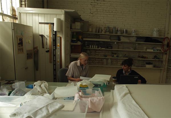 Helen Pashgian and Rachel Rivenc in the artist's studio