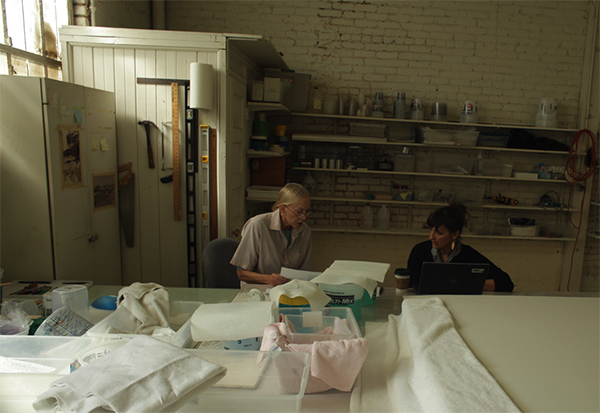 Helen Pashgian and Rachel Rivenc in the artist's studio