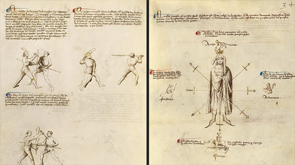Combat with Dagger and Staff; Aiming Points on the Body, from Fiore dei Liberi, The Flower of Battle, possibly Venice or Padua, ca. 1410.  Tempera colors, gold leaf, and ink on parchment, 11 x 8 1/8 in. (27.9 x 20.6 cm).  The J. Paul Getty Museum, Ms. Ludwig XV 13, fols. 31v-32