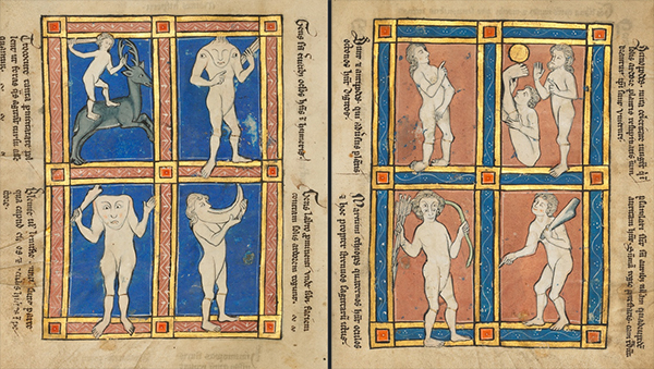 Trococie, A Headless Man with Eyes on His Shoulders, A Headless Man with a Face on His Chest, a Man with a Large Upper Lip; Antipode, Scinopode, Coastal Ethiopian, Psalmlarus, from Hugo of Fouilloy and William of Conches, Bestiary, Franco-Flemish, Thérouanne?, fourth quarter of the 13th century (after 1277).  Tempera colors, pen and ink, gold leaf, and gold paint on parchment, 9 3/16 x 6 7/16 in. (23.3 x 16.4 cm).  The J. Paul Getty Museum, Ms. Ludwig XV 4, fols. 117v-118