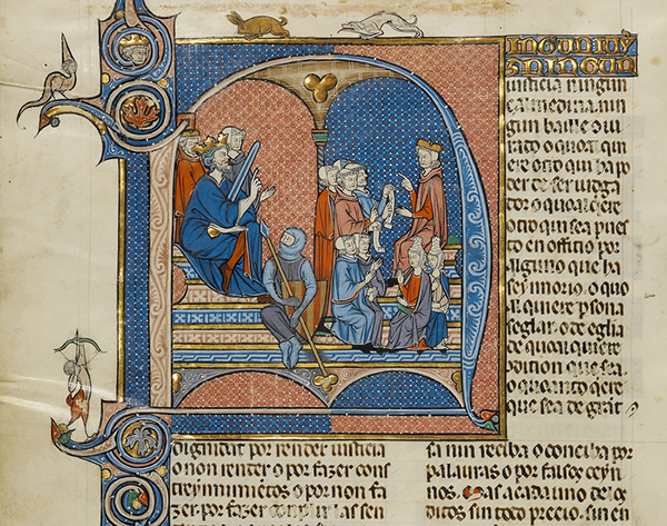 Initial N: James I of Aragon Overseeing a Court of Law (detail), from Vidal de Canellas, Michael Lupi de Çandiu, and Michael Lupi de Çandiu, Feudal Customs of Aragon.  Tempera colors, gold leaf, and ink on parchment, 14 3/8 x 9 7/16 in. (36.5 x 24 cm).  The J. Paul Getty Museum, Ms. Ludwig XIV 6, fol. 1