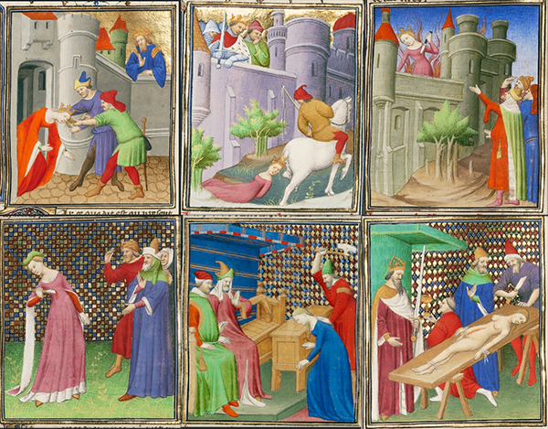 Athaliah, Queen of Judah, Dragged from the Temple; The Death of Brunhilde, Queen of France; The Suicide of Queen Dido; The Suicide of Lucretia; Virginia Killed by Her Father to Save Her From the Attentions of Appius Claudius;  Nero Pauses for a Drink During the Mutilation of His Mother's Body, from Boccaccio's The Fates of Illustrious Men and Women (translated into French by Laurent de Premierfait), Boucicaut Master, about 1415.  Tempera colors, gold leaf, and gold paint on parchment, 16 9/16 x 11 5/8 in. (42 x 29.6 cm). The J. Paul Getty Museum, Ms. 63, fols. 39, 282, 41, 68, 83, 224