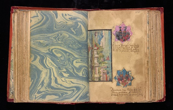 Leaf 119 verso and 120 recto from Johann Joachim Prack von Asch's liber amicorum (book of friends), 1587–1612. The Getty Research Institute, 2013.M.24