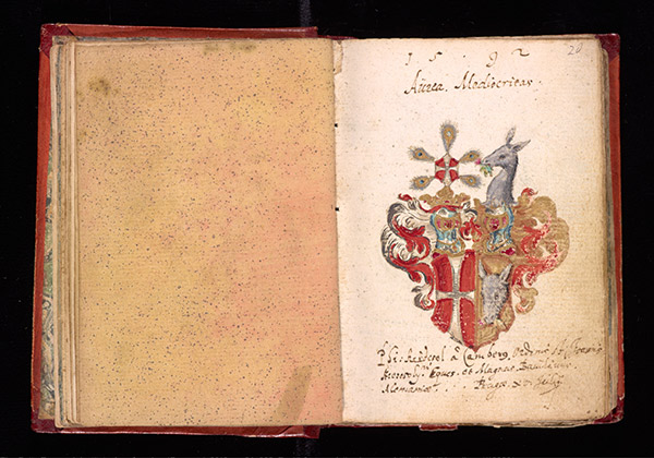 Leaf 257 verso and 258 recto from Johann Joachim Prack von Asch's liber amicorum (book of friends), 1587–1612. The Getty Research Institute, 2013.M.24