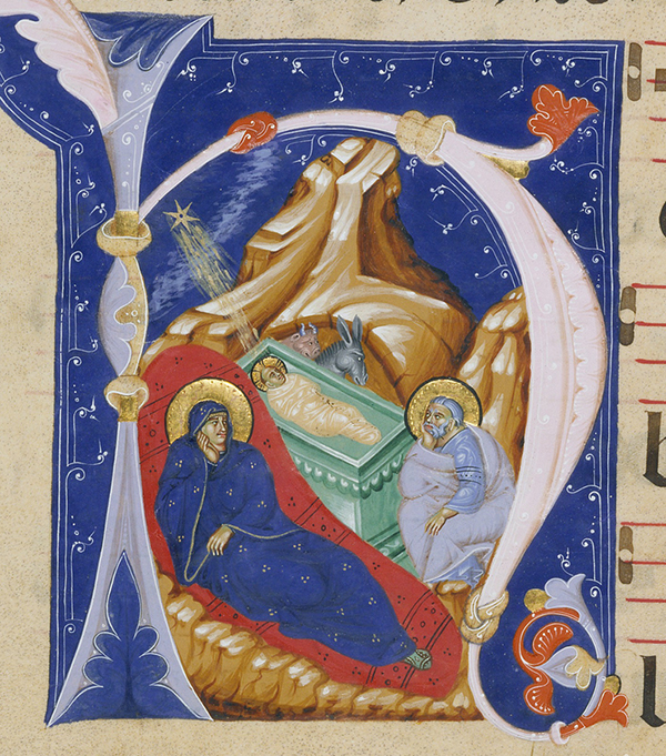 Initial H: The Nativity, late 1200s, Master of Gerona. J. Paul Getty Museum.