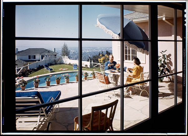 View to patio and swimming pool, Mr. and Mrs. Jack Moss residence, Pacific Palisades, c. 1944