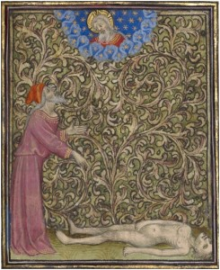 Job Pointing to a Corpse on the Ground in a Book of Hours, about 1410, Follower of the Egerton Master. Tempera colors, gold leaf, gold paint, and ink on parchment, 7 ½ x 5 ½ in. (19.1 x 14 cm). The J. Paul Getty Museum, Ms. Ludwig IX 5, fol. 147