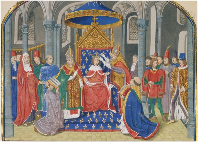 The Coronation of Pepin from History of Charles Martel, written 1463-1465, illuminated 1467-1472, Loyset Liédet and Pol Fruit. Tempera colors, gold leaf, and gold paint on parchment, 9 x 7 7/16 in. (22.9 x 18.9 cm). The J. Paul Getty Museum, Ms. Ludwig XIII 6, leaf 7v