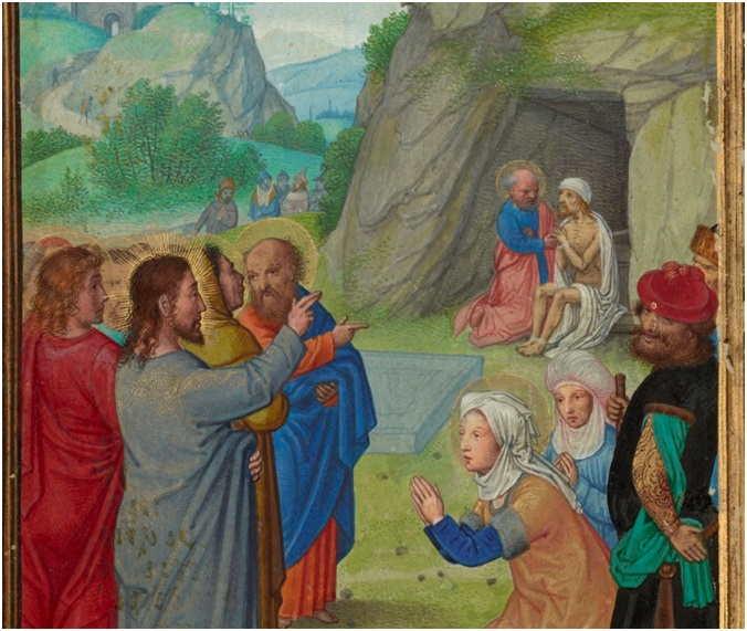 A Fishy Resurrection from a Stony Grave: The Raising of Lazarus from Prayer Book of Cardinal Albrecht of Brandenburg, about 1525-1530, Simon Bening. Tempera colors, gold leaf, gold paint, and ink on parchment, 6 5/8 x 4 ½ in. (16.8 x 11.4 cm). The J. Paul Getty Museum, Ms. Ludwig IX 19, fol. 69v