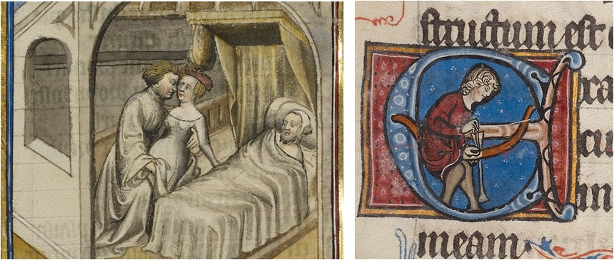 Cause and Effect: A Woman Meeting with Her Lover while Her Husband Sleeps from Romance of the Rose, about 1405. Tempera colors, gold leaf, and ink on parchment, 14 7/16 x 10 ¼ in. (36.7 x 26 cm). The J. Paul Getty Museum, Ms. Ludwig XV 7, fol. 91v; Initial E: An Archer Fitting an Arrow into His Bow in Bute Psalter, about 1270-1280, Bute Master. Tempera colors, gold, and ink on parchment, 6 11/16 x 4 11/16 in. (17 x 11.9 cm). The J. Paul Getty Museum, Ms. 46, fol. 84
