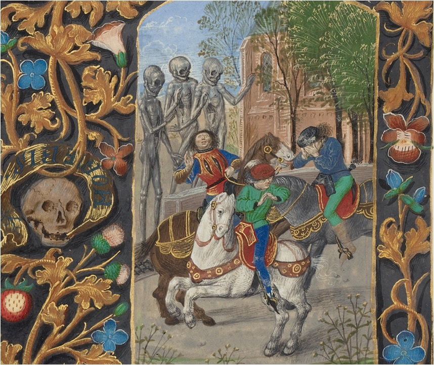 White Walkers of Death: The Three Living and the Three Dead in Crohin-La Fontaine Hours, about 1480-1485?, Master of the Dresden Prayer Book. Tempera colors, gold paint, and ink on parchment, 5 ¼ x 3 11/16 in. (20.5 x 14.8 cm). The J. Paul Getty Museum, Ms. 23, fol. 146v