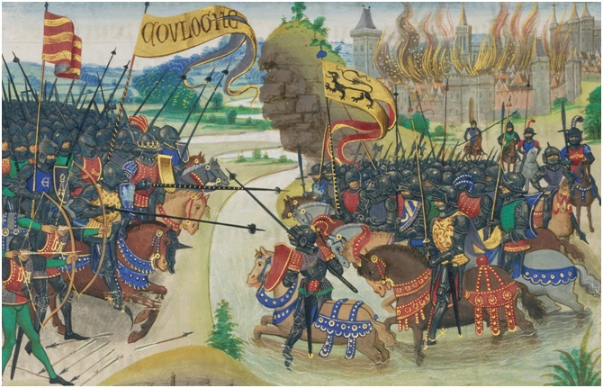 Unite of be Vanquished: The Conquest of Gasgogne by the Armies of Luxembourg, Boulogne, and Artois from History of Charles Martel, written 1463-1465, illuminated 1467-1472, Loyset Liédet and Pol Fruit. Tempera colors, gold leaf, and gold paint on parchment, 9 x 7 7/16 in. (22.9 x 18.9 cm). The J. Paul Getty Museum, Ms. Ludwig XIII 6, leaf 7v