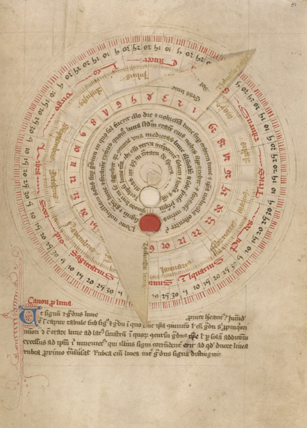 Astronomical Table with Vovelle, late 14th century, shortly after 1386. Pen and black ink and tempera on parchment, 8 3/8 x 6 in. (21.3 x 15.2 cm).  The J. Paul Getty Museum, Ms. Ludwig XII 7, fol. 51